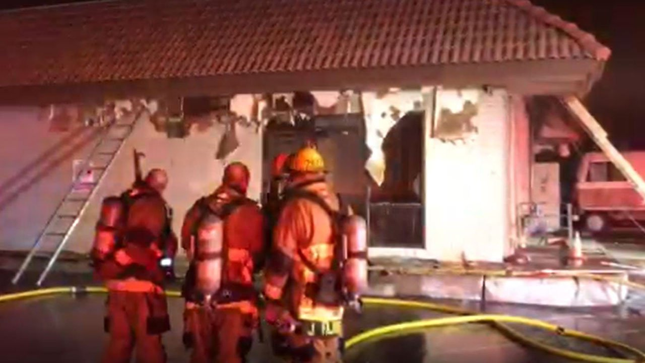 A restaurant that was due to open next week caught fire late Monday night in Phoenix, according to authorities. (Source: Phoenix fire)