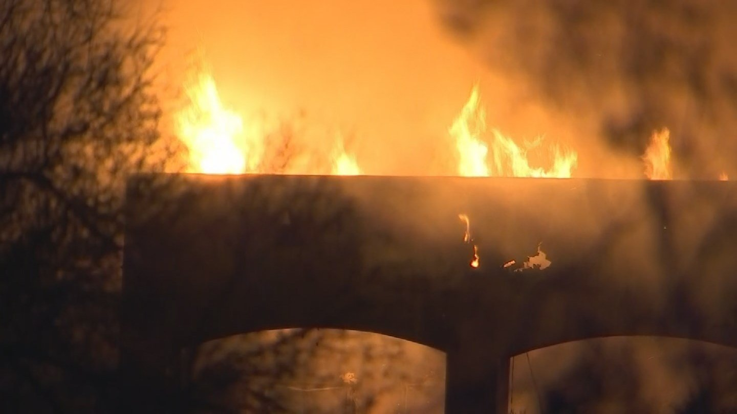 Over 40 firefighters from both Scottsdale and Phoenix fire departments helped battle the blaze that ravaged the 6,400 square-foot home. (Source: 3TV/CBS 5)