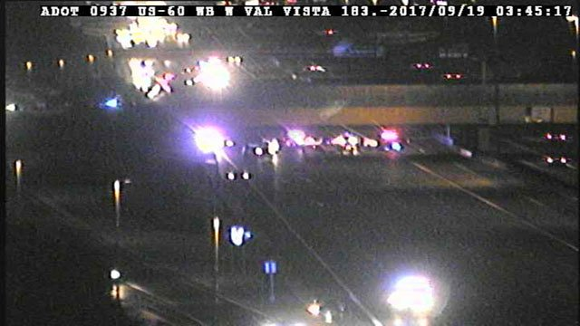 Westbound U.S. 60 was promptly closed at Val Vista Drive around 3:30 a.m. while authorities began their investigation. (Source: ADOT)