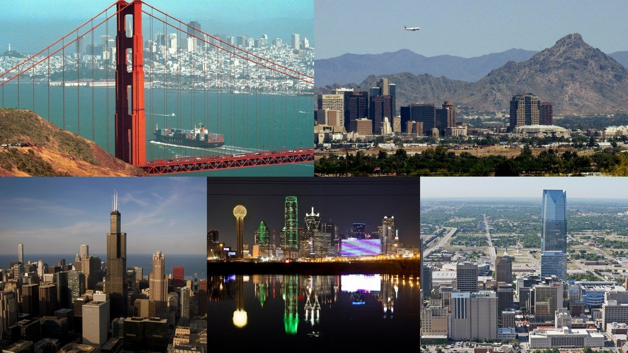 (Skylines from L to R: San Francisco, Phoenix, Chicago, Dallas, Oklahoma City, file photos AP)