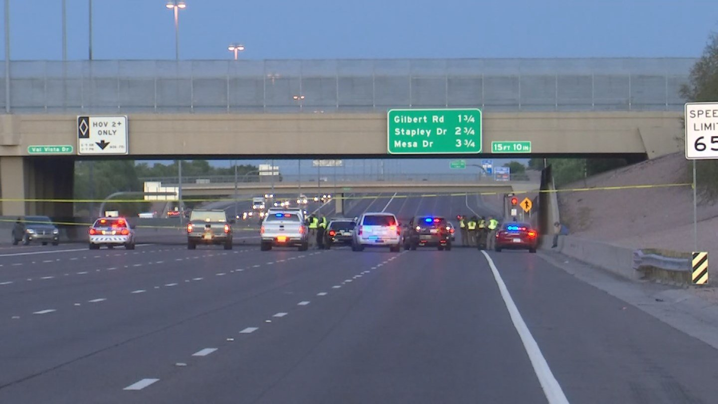 When troopers arrived, they found the body of a male victim in the middle lane of traffic under the Val Vista Drive overpass. The man appeared to have been struck multiple times. (Source: 3TV/CBS 5)