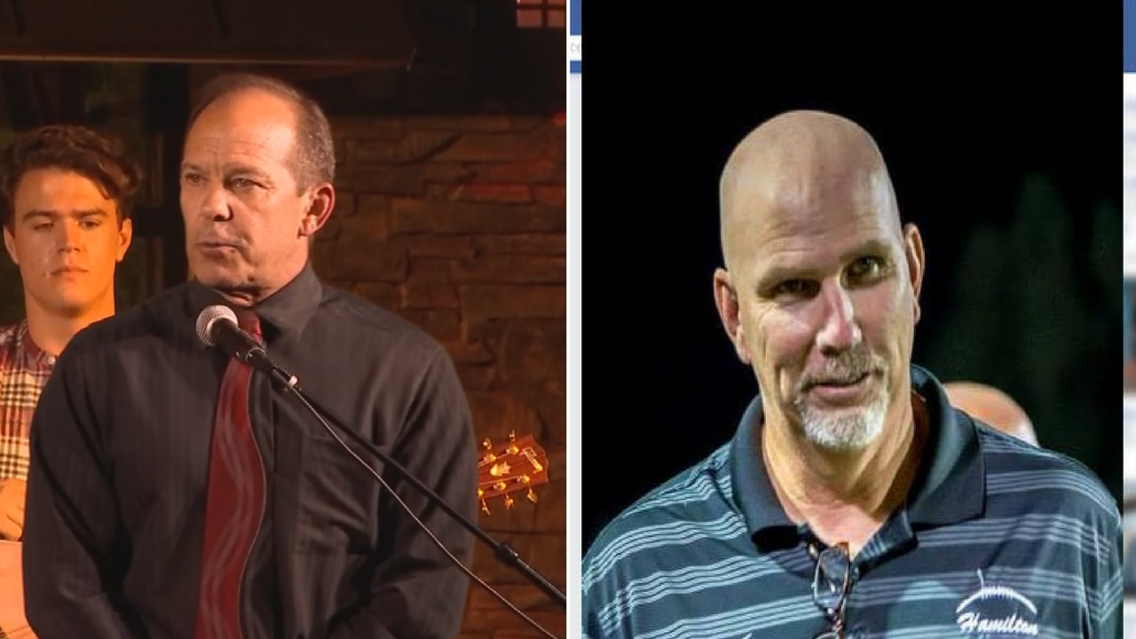 Principal Ken James, left, and ex-football coach Steve Belles, right. (Source: 3TV/CBS 5/Facebook)