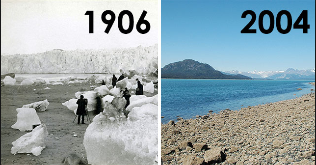 The Muir Glacier in Alaska over about 100 years. (Source: USGS)