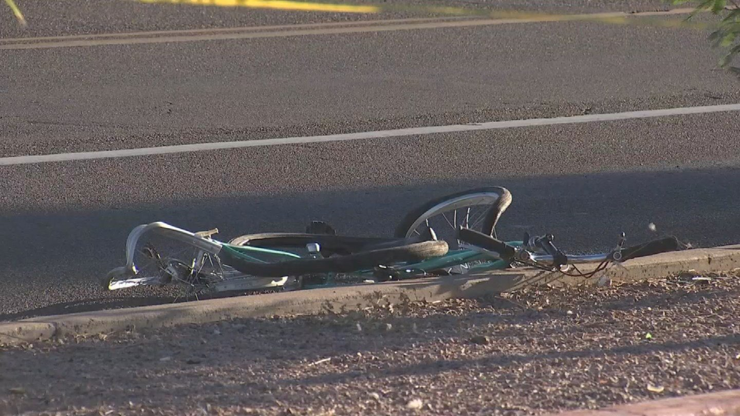 A 45-year-old man on his bicycle was hit by a truck in Phoenix early Wednesday morning, leaving him in critical condition. (Source: 3TV/CBS 5)