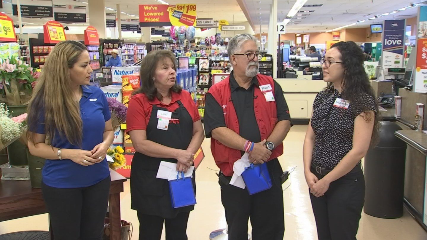 Kathleen Mascarenas speaks to Lori and Stuart at Fry's Food Store.(Source: 3TV/ CBS 5)