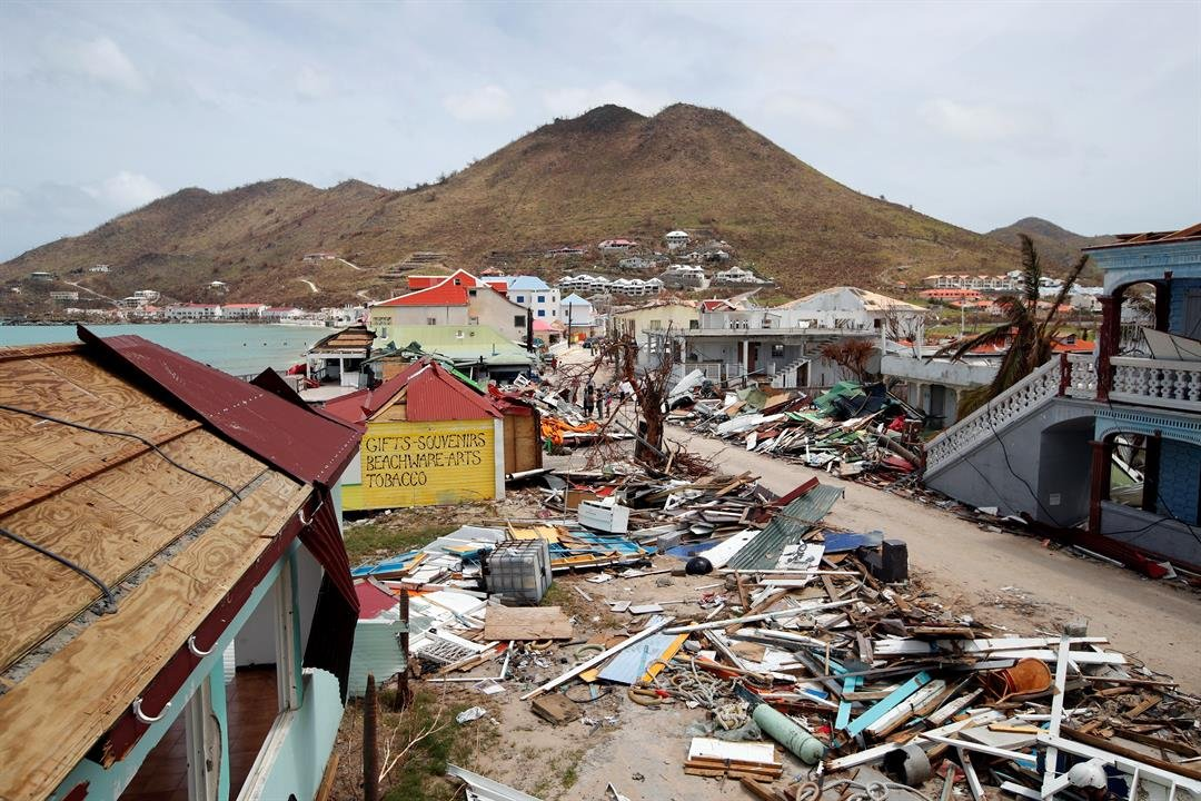 This Sept. 12, 2017, file photo, shows a view of buildings partially destroyed by Irma in the French Caribbean island of St. Martin. (Source: AP Photo/Christophe Ena, File)