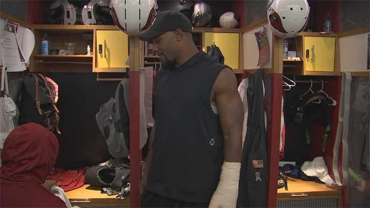 David Johnson was in the Cardinals locker room on Wednesday for the first time since wrist surgery. (Source: 3TV/CBS 5)