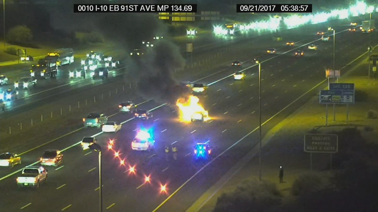 DPS said no one was hurt from this car fire. (Source: ADOT)