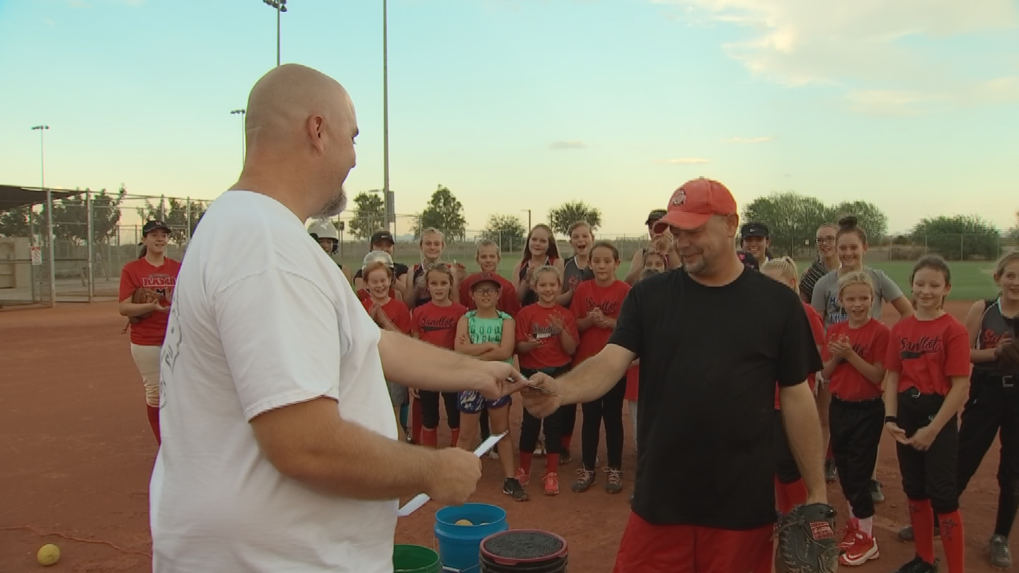 Mike O'Dell received $500 for all his volunteer work for the girl's softball team in Maricopa. (Source: 3TV/CBS 5)