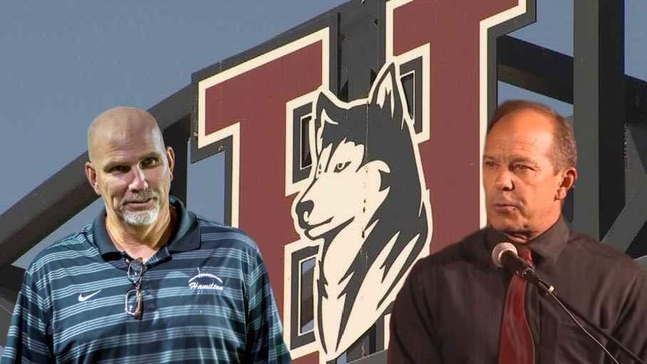 Former football coach Steve Belles (left) and current school principal Ken James could face charges in connection with allegations of hazing by the Hamilton High School football team. (Source: 3TV/CBS 5 and Facebook)