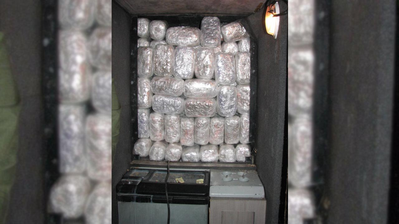 Two drivers of a Mexican tour bus have been arrested near Tombstone after 320 pounds (145 kilograms) of marijuana was found in a hidden compartment. (Source: U.S. CBP)