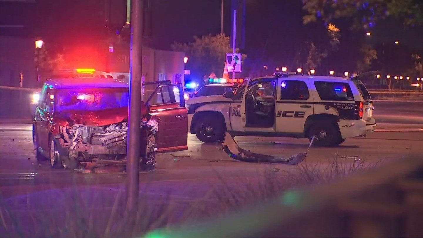 A suspected drunk driver is in custody after causing a series of collisions including fatally striking a bicyclist and hitting a police cruiser. (Source: 3TV/CBS 5)