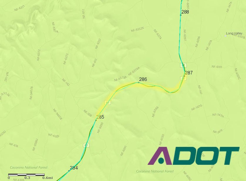 Two miles of roadwork on State Route 87 will add longer ride-times for Payson/Pine/Strawberry residents. (Source: Arizona Department of Transportation)