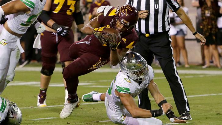 ASU's Demario Richard scores a touchdown against Oregon (AP Photo/Rick Scuteri)