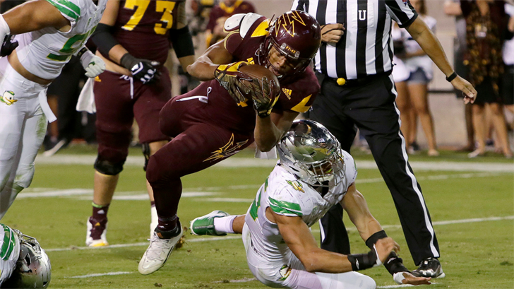 ASU's Demario Richard scores a touchdown against Oregon (AP Photo/Rick Scuteri)