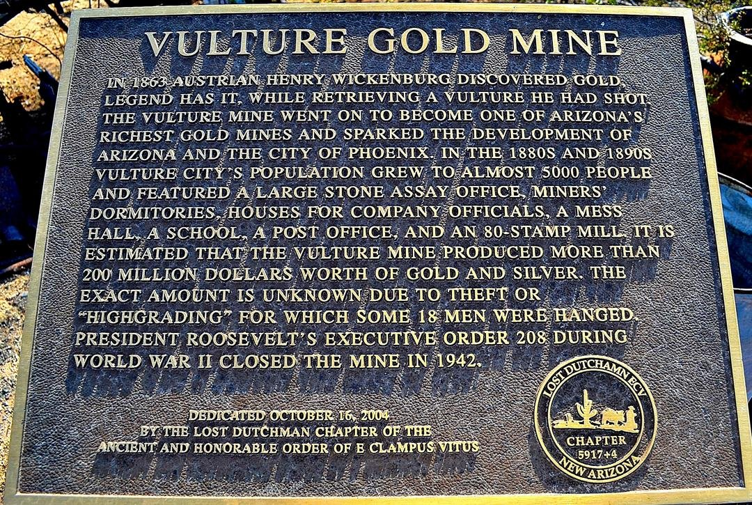 Historic marker Vulture City ghost town. (Source: Eric Zotcavage)