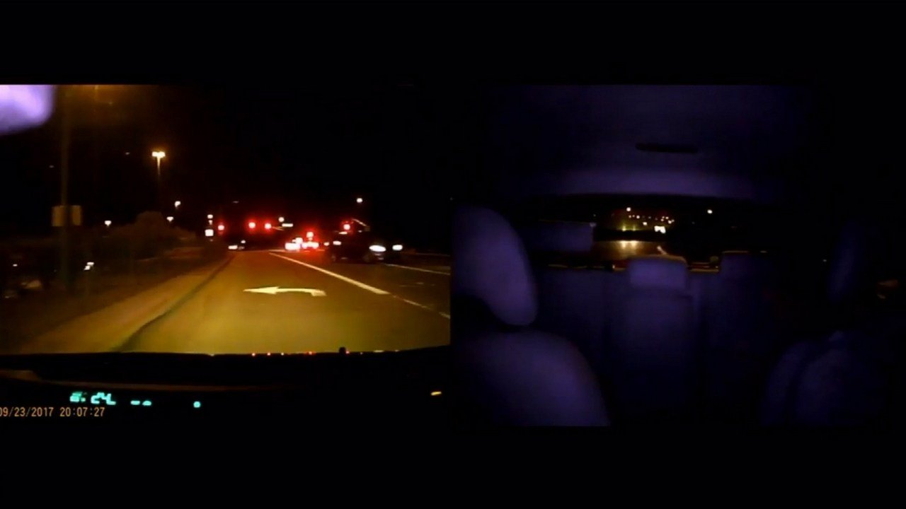 Andrew Vock captured and tweeted his close encounter with the wrong-way driver on eastbound L-101 Saturday night. (Source: Andrew Vock/Twitter)