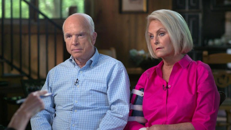"Sen. John McCain and his wife Cindy talk to Lesley Stahl for ""60 Minutes."" (Source: CBS News)"