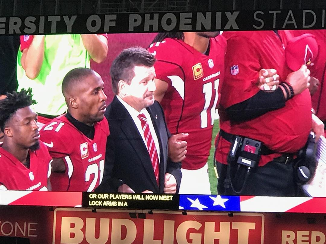 President Michael Bidwill stood with his team for the anthem. (Source: Ed Munson Jr.)
