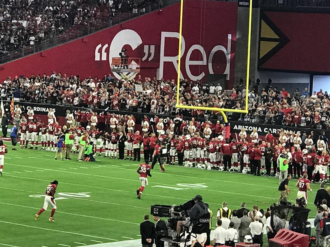 The Cardinals stood for the national anthem. (Source: Ed Munson Jr.)