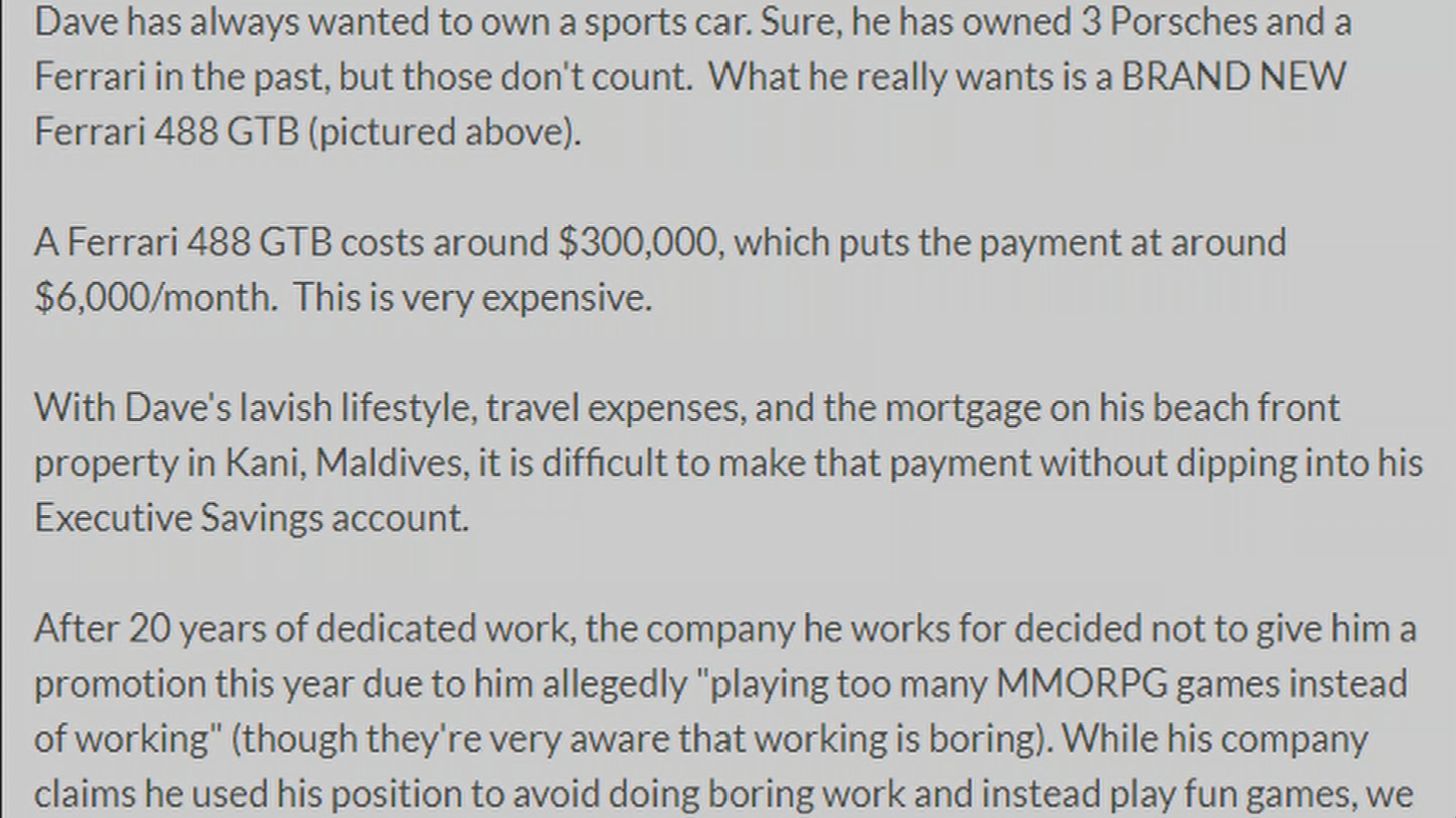 "Dave Leone thought ""Fund my Ferrari"" was the best exaggeration he could make. (Source: 3TV/CBS 5)"