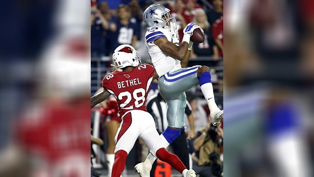 Dallas Cowboys wide receiver Brice Butler (19) pulls in a touchdown catch as Arizona Cardinals cornerback Justin Bethel (28) defends during the second half. (Source: AP Photo/Ross D. Franklin)