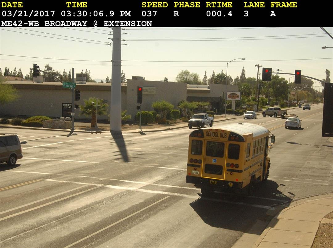 Photo radar cameras have caught bus drivers running red lights in the Phoenix area more than 50 times since 2012. (Source: 3TV/CBS 5 public records request)