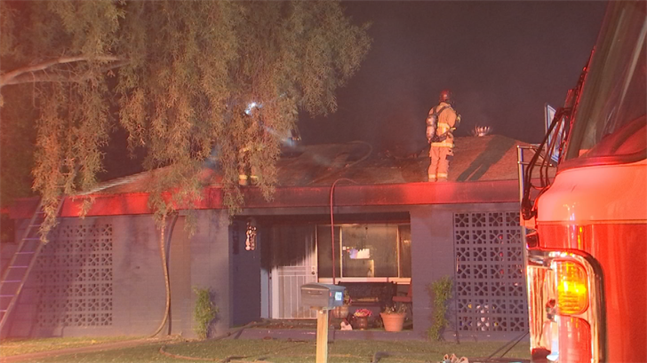 One man was injured after exiting a home that caught fire overnight in Phoenix. (Source: 3TV/CBS 5)