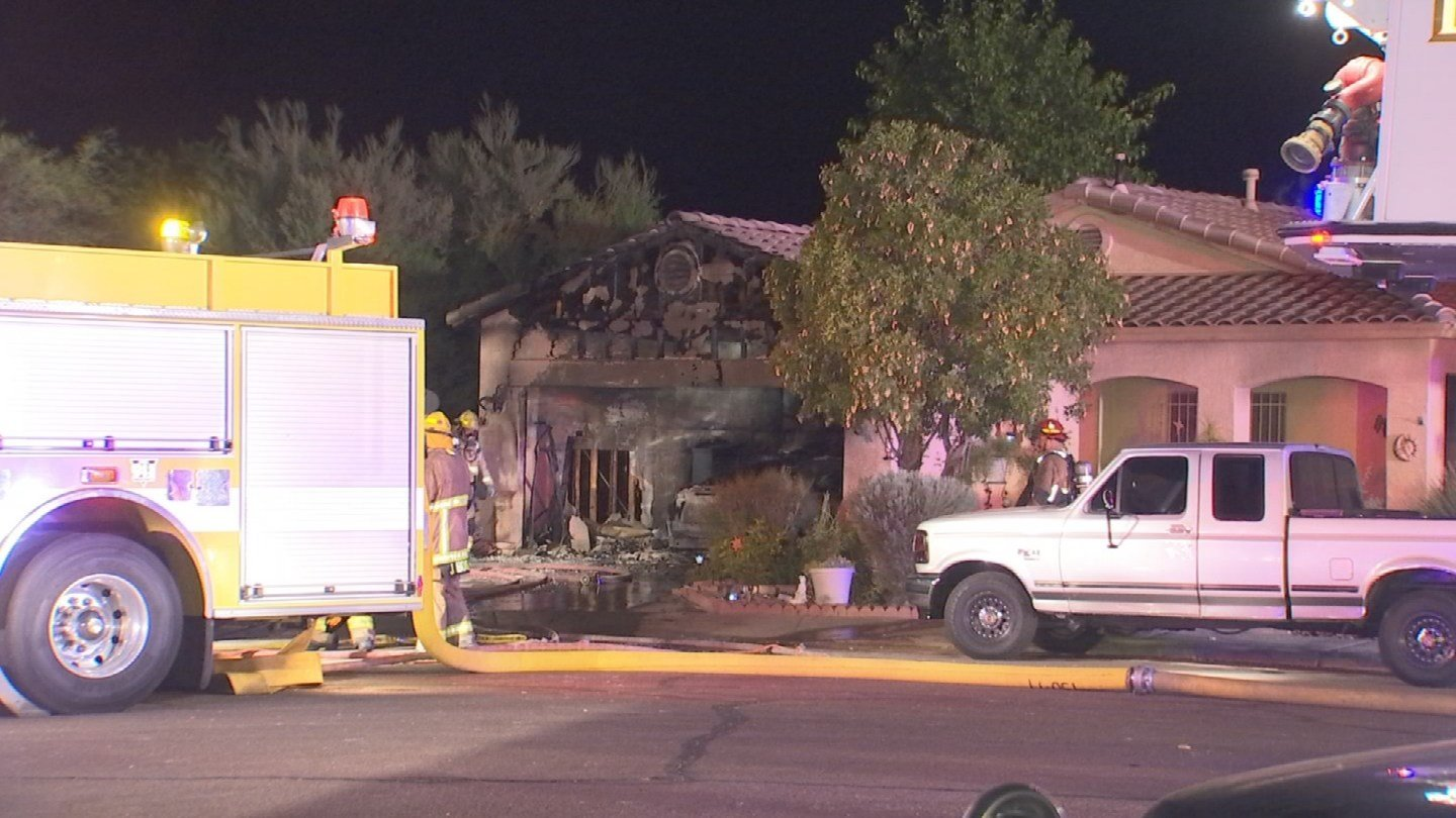 A garage is completely gutted and three people are displaced in Goodyear after an overnight fire. (Source: 3TV/CBS 5)