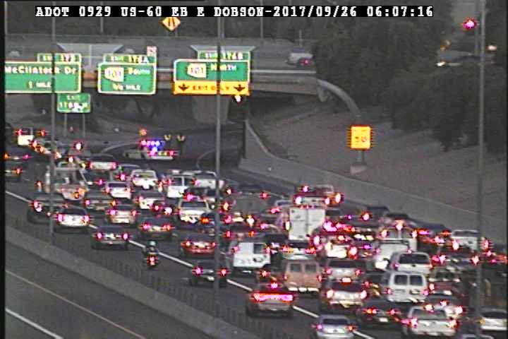 They had to shut down the ramp for a sweeper to clean up the debris. (Source: ADOT)