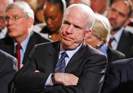 In this Feb. 23, 2009, file photo, Sen. John McCain, R-Ariz. listens during remarks of the Fiscal Responsibility Summit, hosted by President Barack Obama in the East Room of the White House in Washington.(AP Photo/Charles Dharapak, file)