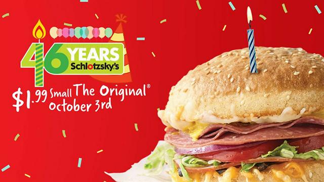 Schlotzsky's is turning 46 on October 3. (Source: Schlotzsky's)