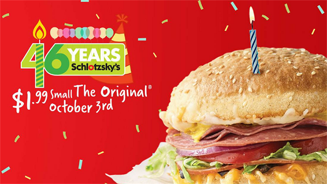 Schlotzsky's is turning 46 on October 3. (Source: Schlotzsky's)