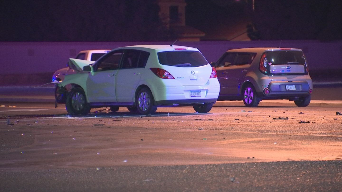 One person is dead and three are hurt after a red-light runner caused a crash overnight in El Mirage, according to police. (Source: 3TV/CBS 5)