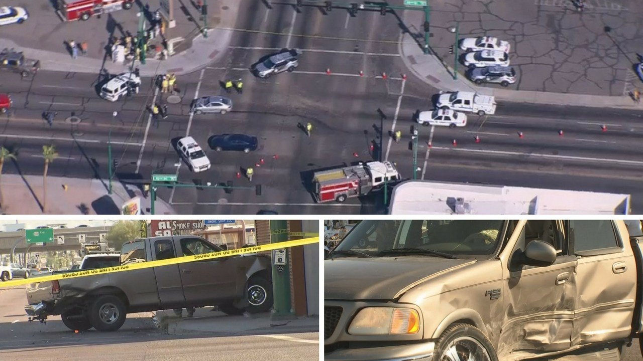Police pursuit ends in a crash at McDowell and 32nd Street, Phoenix. (Source: 3TV/CBS 5 News)