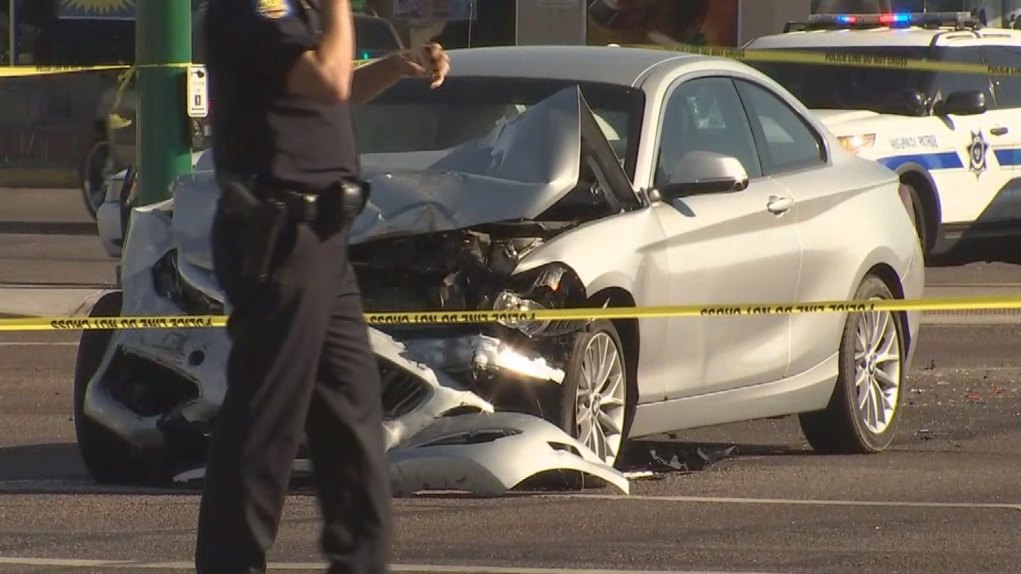 Multi-car accident at McDowell Rd. and 32nd St., Phoenix. (Source: 3TV/CBS 5 News)