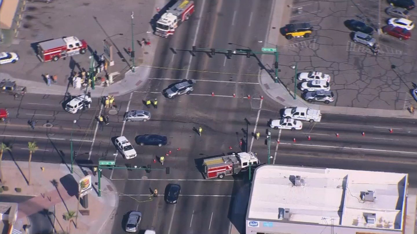 McDowell and 32nd Street is closed for an accident investigation. (Source: 3TV/CBS 5 News)