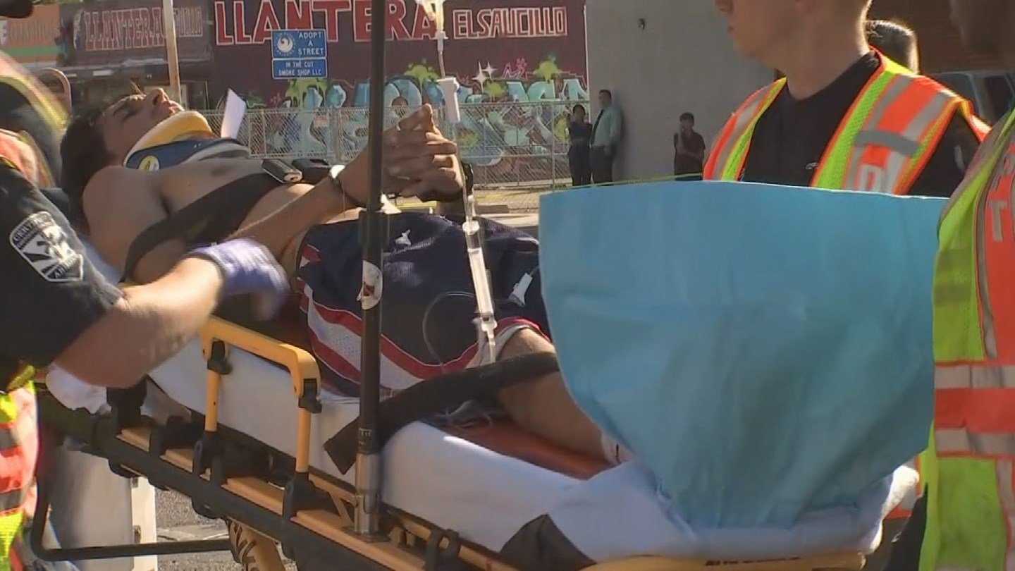 Driver who fled and was Tased is loaded into an ambulance. (Source: 3TV/CBS 5 News)