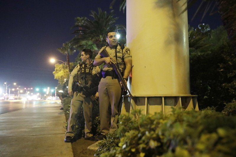 Responding officers in Las Vegas after mass shooting. (Source: Associated Press)