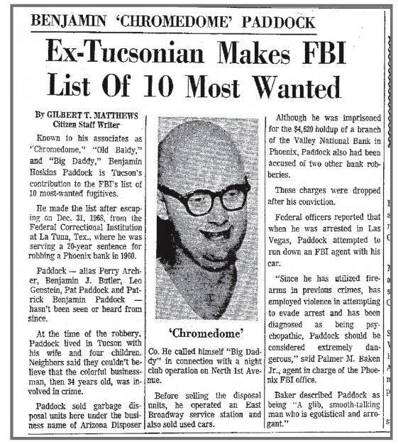"1971 news story on Benjamin ""Chromedome"" Paddock. (Source: Tucson daily News)"