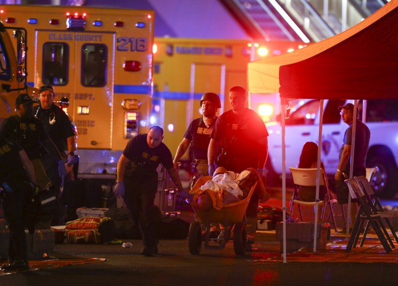 Victims of the Las Vegas shooting undergoing treatment for injuries. (Source: Associated Press)