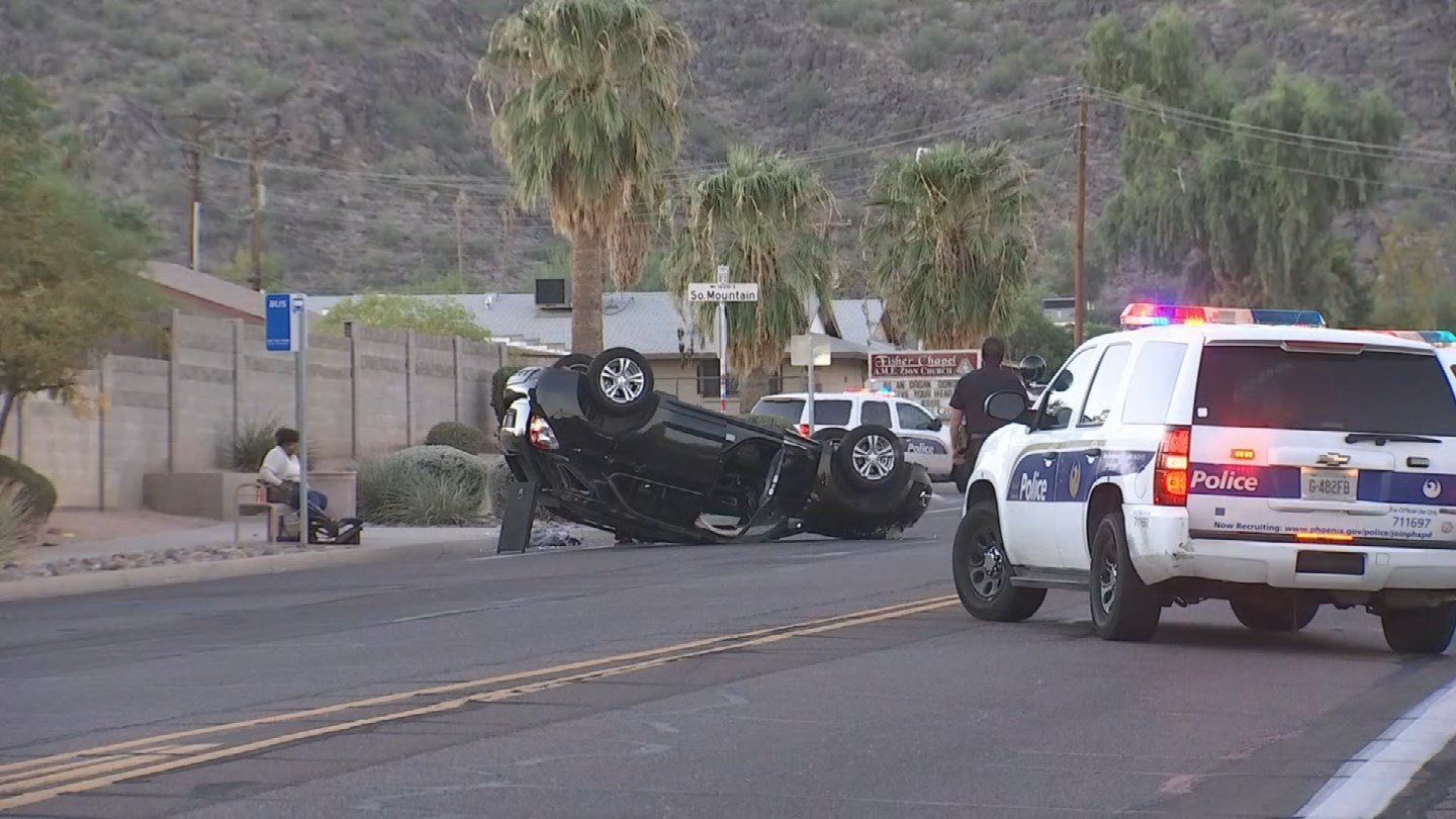 Only minor injuries have been reported after a two-vehicle collision caused a rollover in Phoenix on Tuesday morning. (Source: 3TV/CBS 5)