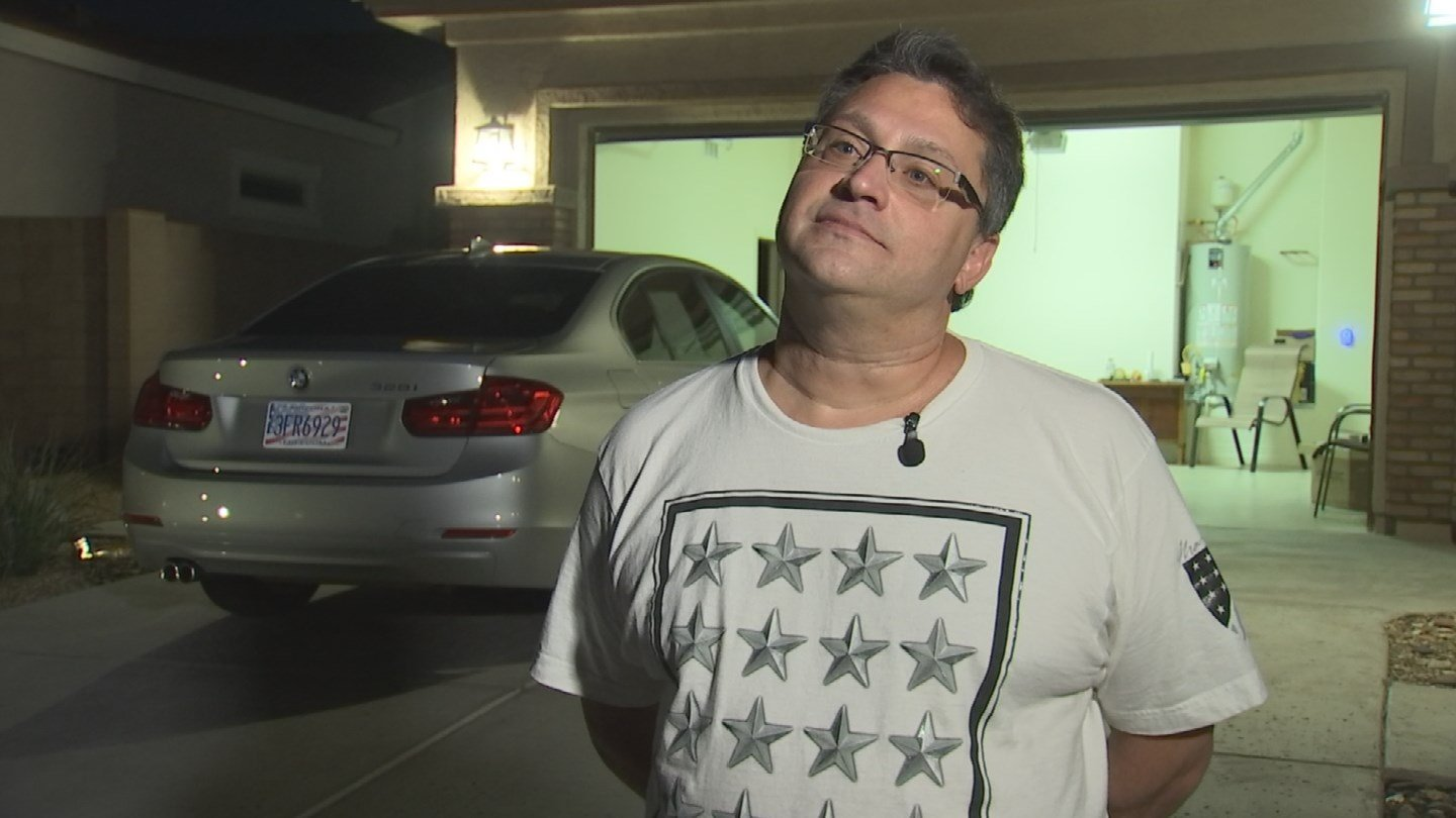 Val Giardina of Goodyear said he was driving the Las Vegas Strip with the sunroof open, just returning from a shop where he purchased souvenirs when the gunfire started. (Source: 3TV/CBS 5)