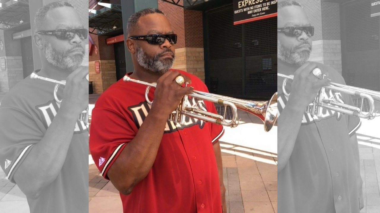 Phoenix trumpeter Jesse McGuire has become a good luck charm to the DBacks