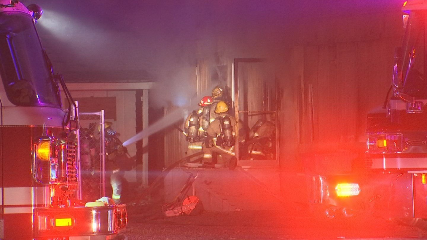 Firefighters from Phoenix and Glendale battled a first-alarm fire at a few abandoned buildings in Phoenix early Friday morning. (Source: 3TV/CBS 5)