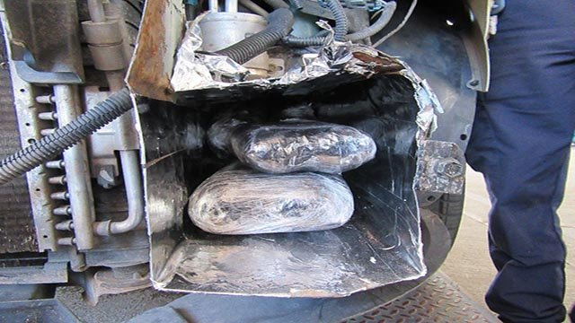 Customs and Border Protection says officers arrested the 28-year-old Tucson man who was attempting to enter the United States from Mexico on Tuesday. His identity wasn't released. (Source: U.S. CBP)