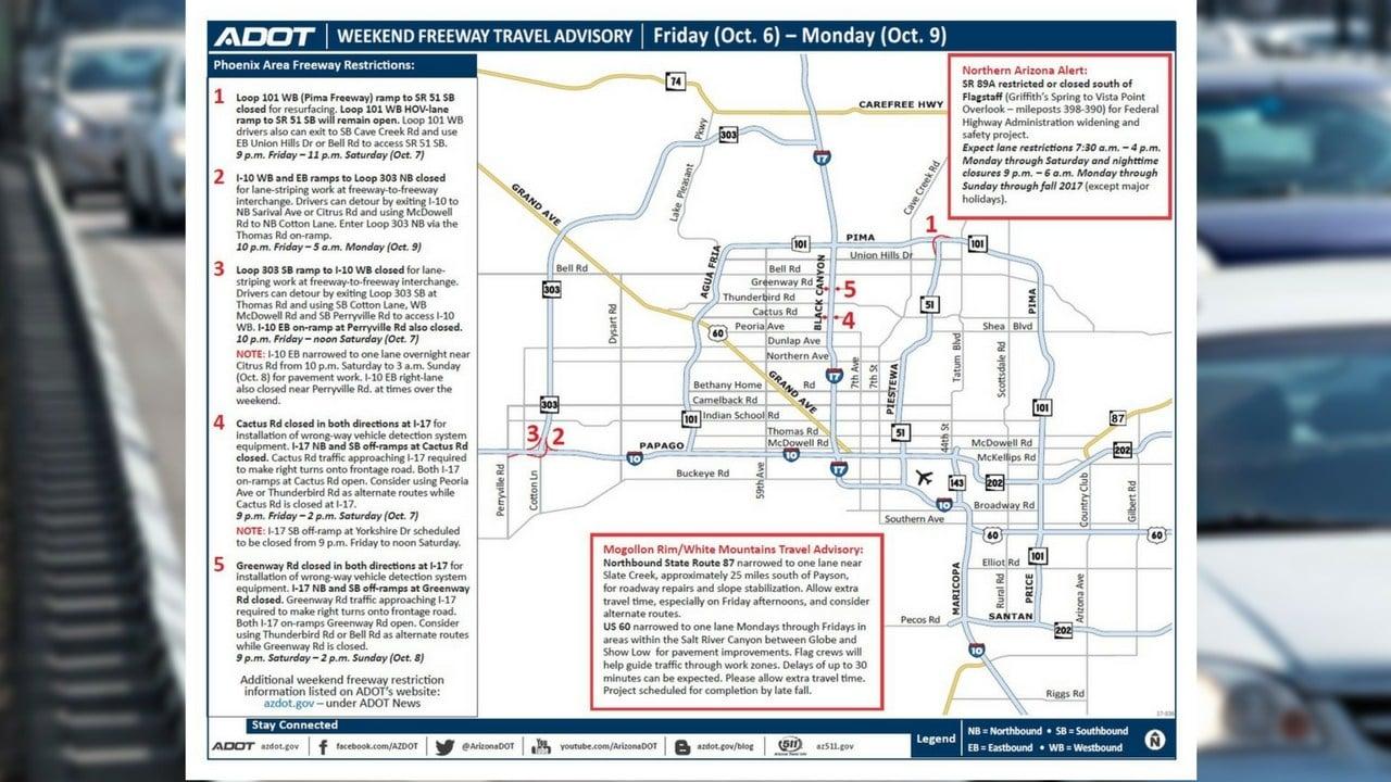 ADOT Weekend Freeway Travel Advisory (Oct. 6-9) (Source: Arizona Department of Transportation)