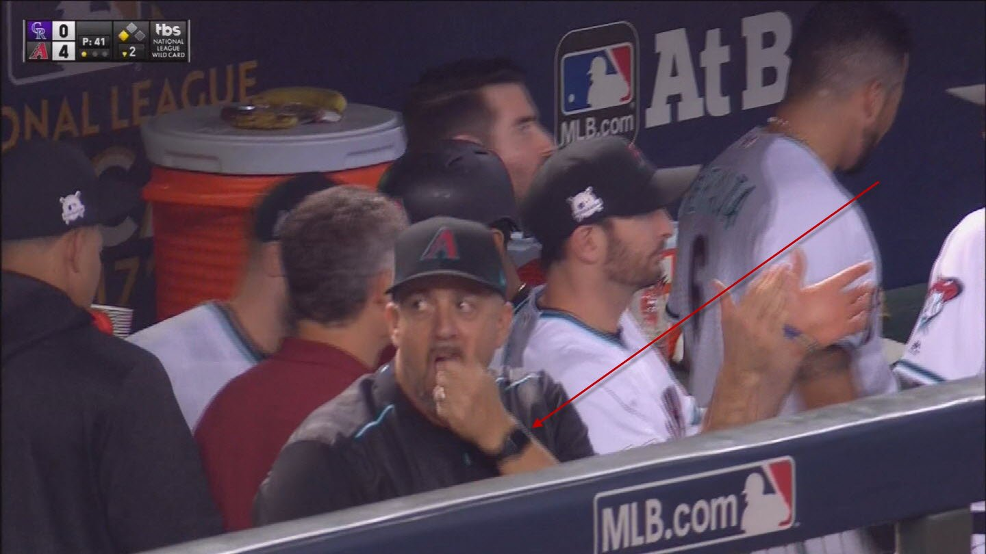D-backs after coach Ariel Prieto was spotted wearing an Apple watch during Wednesday's D-backs Wild Card win over the Rockies. (SOURCE: MLB on TBS; Screen capture by 3TV/CBS 5)