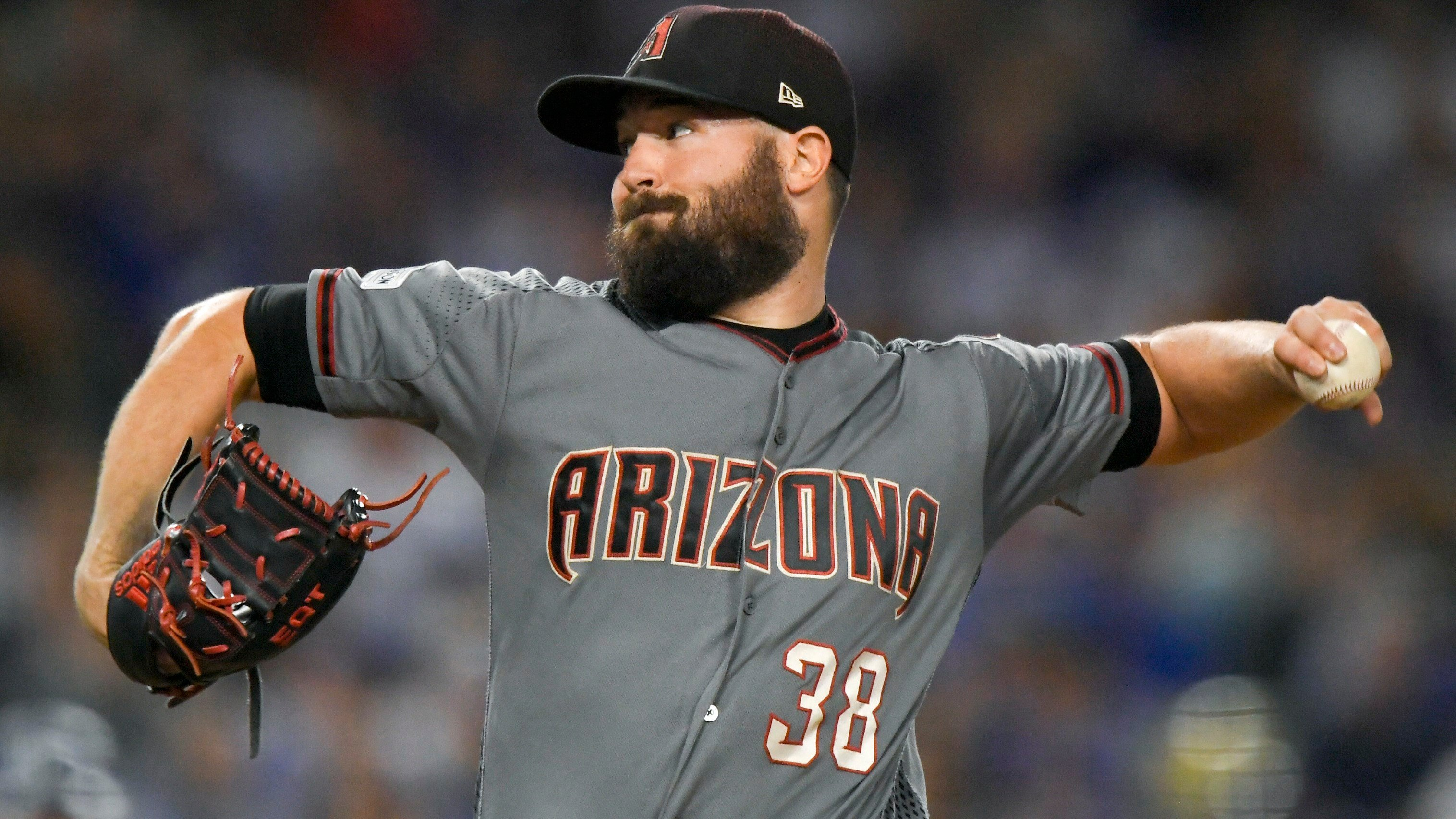 Arizona Diamondbacks starting pitcher Robbie Ray throws against the Los Angeles Dodgers during the second inning of Game 2 of baseball's National League Division Series in Los Angeles, Saturday, Oct. 7, 2017. (AP Photo/Mark J. Terrill)