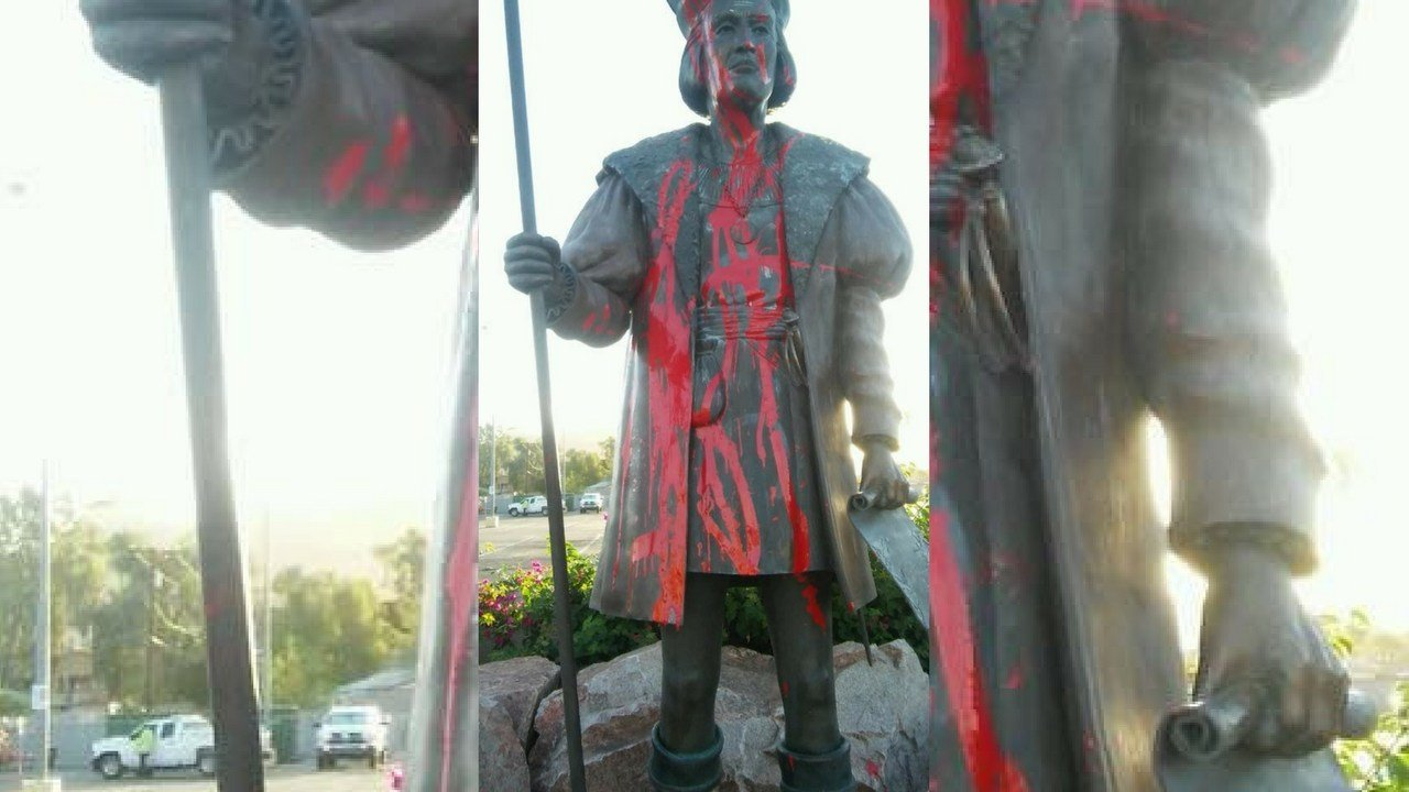 Statue of Columbus vandalized. (Source: 3TV/CBS 5 News)